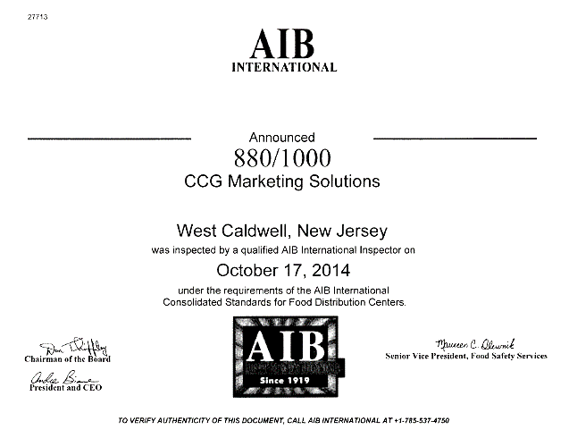 CCG Certified by American Institute of Baking (AIB) International ...