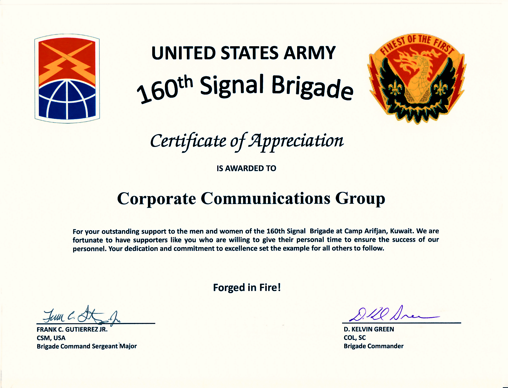 Ccg receives certificate of appreciation from us army ccg certificate of apperciation us army yelopaper Images